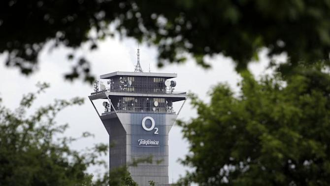 The logo of mobile phone operators O2 and Telefonica Czech Republic are seen on the company's technical support centre in Prague