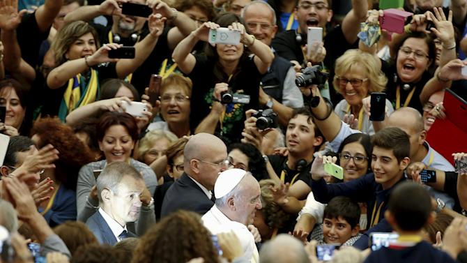 Pope Francis arrives to attend a special audience with members of the Parish Evangelisation Cell System at the Vatican