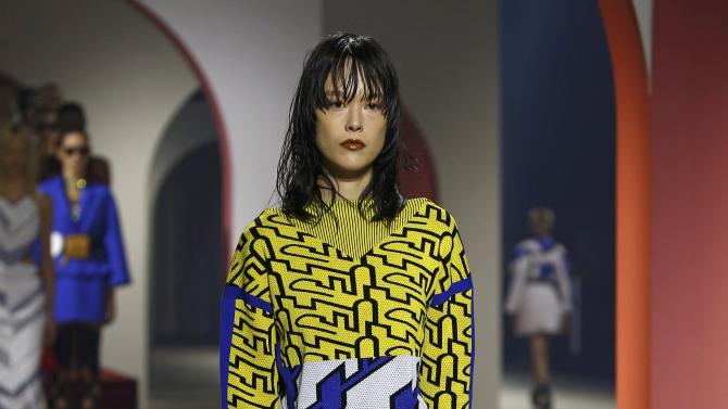 A model presents a creation by designers Humberto Leon and Carol Lim as part of their Spring/Summer 2016 women's ready-to-wear collection for Japanese fashion house Kenzo in Paris