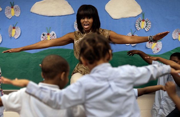 Michelle Obama Visits Local Washington DC School