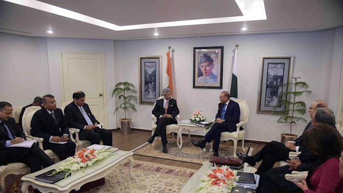 Pakistan's Foreign Secretary Aizaz Ahmad Chaudhry holds talks with his Indian counterpart Subrahmanyan Jaishankar at the Foreign Ministry in Islamabad