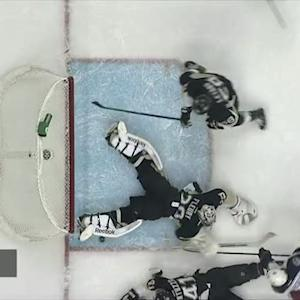 Marc Andre-Fleury denies Atkinson with pad