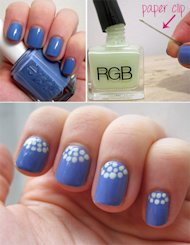 Anna Norman's Mani this week: this unbeatable polka dot half-moon look.