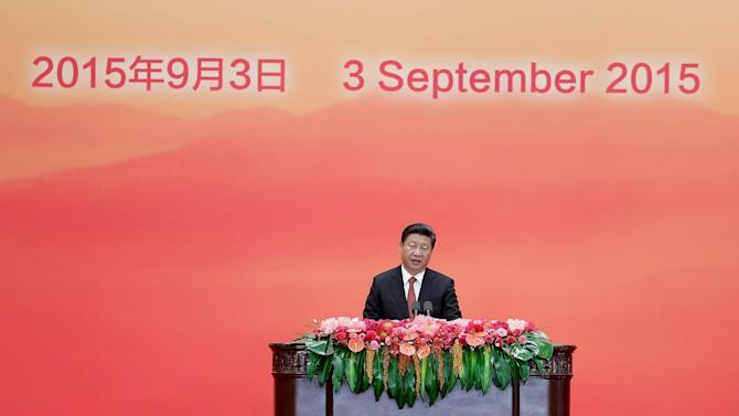 Chinese President Xi speaks during a reception commemorating the 70th anniversary of the end of World War Two in Beijing