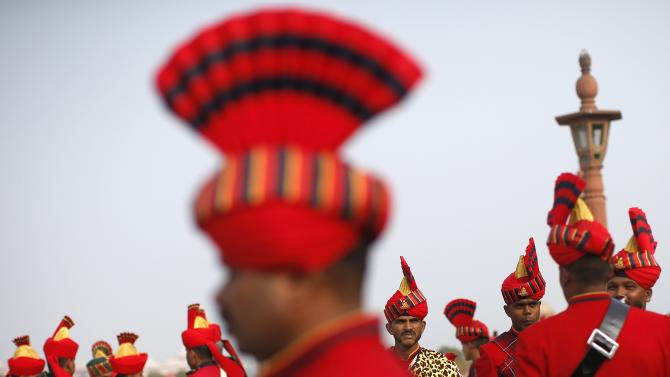"""Members of the Indian military band take part in the rehearsal for the """"Beating the Retreat"""" ceremony in New Delhi"""