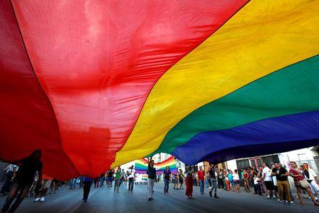 Participants carry a rainbow flag during an annual Gay Pride Parade along the streets of Ciudad Juarez