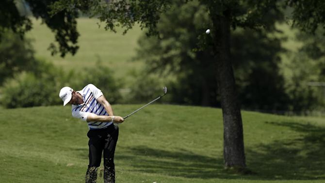 Keegan Bradley hits off the eighth fairway during the second round of the Byron Nelson Championship golf tournament Friday, May 17, 2013, in Irving, Texas. Bradley ended the day at 11 under par for the tournament. (AP Photo/Tony Gutierrez)