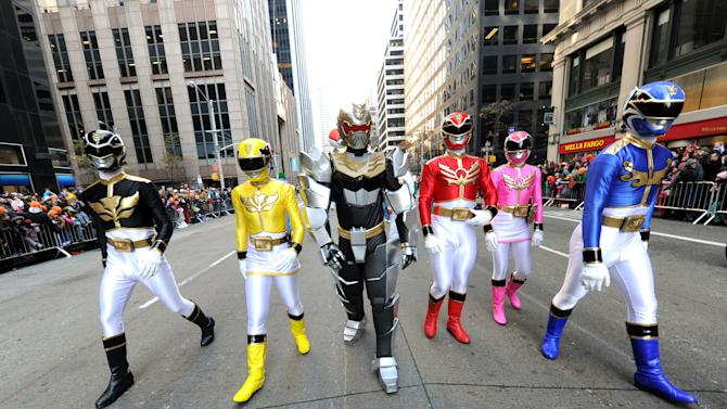 IMAGE DISTRIBUTED FOR SABAN BRANDS - Saban's Power Rangers Megaforce celebrate the franchise's 20th anniversary while powering up the Macy's Thanksgiving Day Parade, Thursday, Nov. 22, 2012, in New York.  (Photo by Diane Bondareff/Invision for Saban Brands/AP Images)