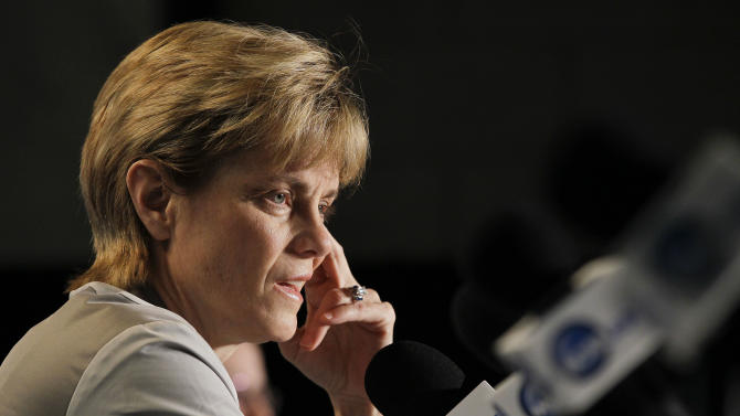 Baylor coach Kim Mulkey answers questions for the media during a news conference, Monday, April 2, 2012, in Denver. Baylor will play Notre Dame for the women's NCAA championship basketball game on Tuesday. (AP Photo/Julie Jacobson)