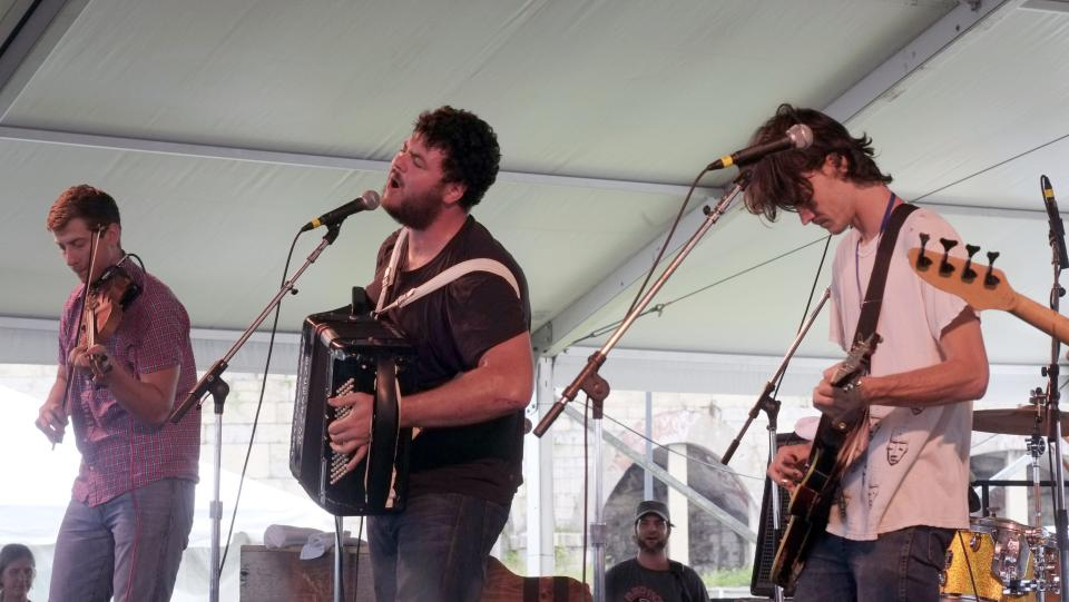 The Felice Brothers perform at the 54th edition of the Newport Folk Festival in Newport, R.I. on Sunday, July 28, 2013. (AP Photo/Joe Giblin)