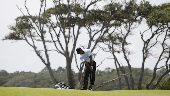 Tiger Woods hits from the third fairway during the third round of the PGA Championship golf tournament on the Ocean Course of the Kiawah Island Golf Resort in Kiawah Island, S.C., Saturday, Aug. 11, 2012. (AP Photo/Lynne Sladky)