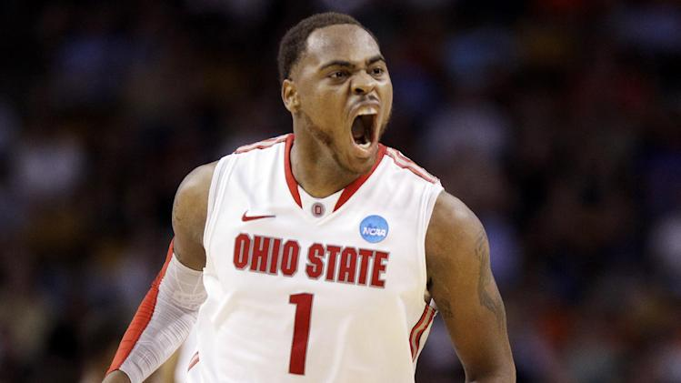 Ohio State forward Deshaun Thomas reacts in the first half of an East Regional semifinal game against Cincinnati in the NCAA men's college basketball tournament, Thursday, March 22, 2012, in Boston. (AP Photo/Elise Amendola)