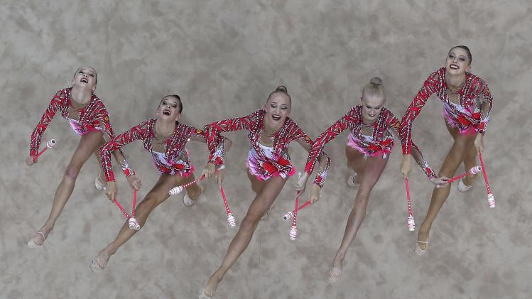 Russia's team competes during the rhythmic gymnastics group all-around final match at the 2014 Nanjing Youth Olympic Games in Nanjing