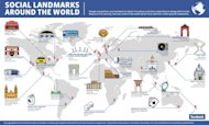 Facebook's map of Social Landmarks Around the World