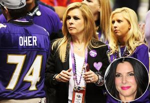Michael Oher, Leigh Anne Tuohy and daughter;  inset: Sandra Bullock | Photo Credits: Ronald Martinez/Getty Images; Alberto Ortega/Getty Images