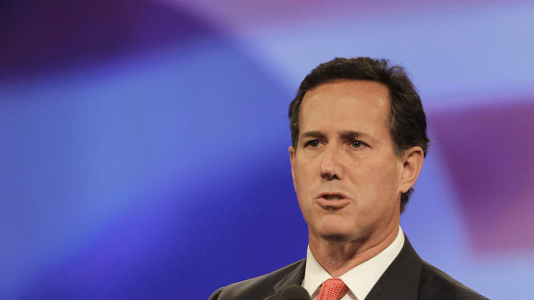Republican presidential candidate former Pennslyvania Sen. Rick Santorum, speaks to delegates before a straw poll during a Florida Republican Party Presidency 5 Convention Saturday, Sept. 24, 2011, in Orlando, Fla. (AP Photo/John Raoux)
