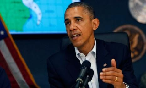 President Obama canceled campaign events Monday, and will monitor Hurricane Sandy from Washington, D.C.