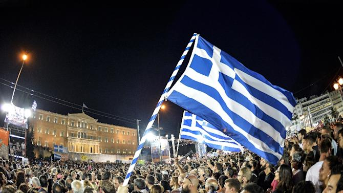 Thousands on 'No' protesters gather in front of the parliament building in Athens on July 3, 2015