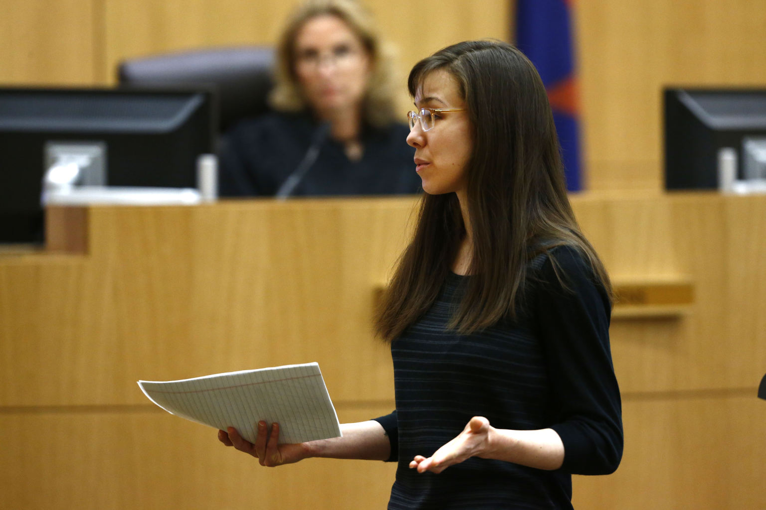 Jodi Arias addresses the jury on Tuesday, May 21, 2013, during the ...