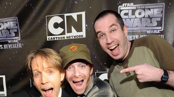 "James Arnold Taylor (L) and Seth Green (C) attend the ""Star Wars: The Clone Wars"" Season 3 premiere party on September 10, 2010, in San Francisco."