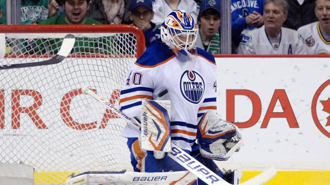 Goalie Devan Dubnyk #40 Of The Edmonton Oilers Makes Getty Images