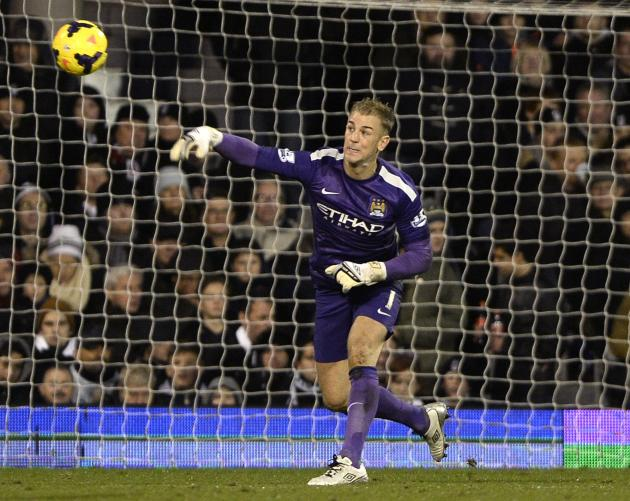 Manchester City goalkeeper Joe Hart throws the ball during their English Premier League soccer match against Fulham in London