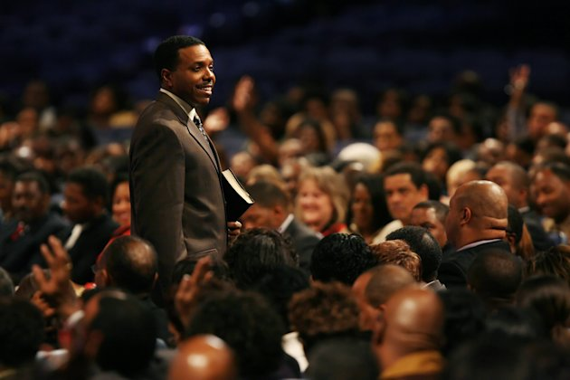 In this Wednesday, Nov. 7, 2007 photo, Rev. Creflo Dollar gives his Wednesday night service at World Changers Church International, in College Park, Ga. Dollar has been arrested after authorities say he slightly hurt his 15-year-old daughter in a fight at his metro Atlanta home. Fayette County Sheriff&#39;s Office investigator Brent Rowan says deputies responded to a call of domestic violence at the home around 1 a.m. Friday, June 8, 2012. Rowan says the 50-year-old pastor and his daughter were arguing over whether she could go to a party when Dollar &quot;got physical&quot; with her, leaving her with &quot;superficial injuries.&quot; (AP Photo/Atlanta Journal-Constitution, Pouya Dianat) MARIETTA DAILY OUT; GWINNETT DAILY POST OUT; LOCAL TV OUT; WXIA-TV OUT; WGCL-TV OUT