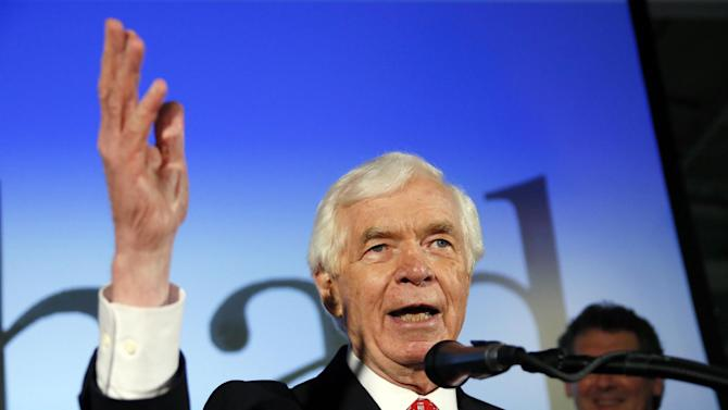 U.S. Sen. Thad Cochran, R-Miss., addresses supporters and volunteers at his runoff election victory party Tuesday, June 24, 2014, at the Mississippi Children's Museum in Jackson, Miss. Cochran defeated state Sen. Chris McDaniel of Ellisville, in a primary runoff for the GOP nomination for senate. (AP Photo/Rogelio V. Solis)