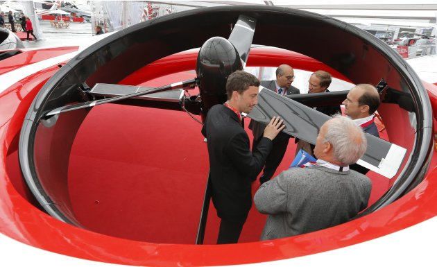 A representative of European helicopter maker AgustaWestland presents Project Zero at the Le Bourget airport near Paris