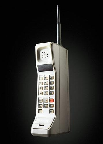 The Analog Motorola DynaTAC 8000X was among the first hand-held phones, introduced in 1983.