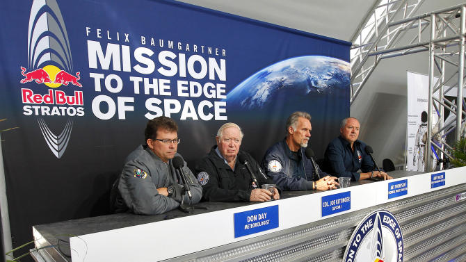 From the left; Mission Control meteorologist Don Day, Capcom 1 skydive record holder Col. Joe Kittinger, Technical Project Director Art Thompson and High Performance Director Andy Walshe speak to the media Wednesday, Oct. 10, 2012, in Roswell, N.M., to announce a four-day hold on Felix Baumgartner's 23-mile-high jump attempt, with the earliest projection for a second jump being Sunday. Baumgartner is hoping to become the first skydiver to break the sound barrier by jumping from a capsule floated 23 miles into the stratosphere by 55-story helium balloon.   (AP Photo/Matt York)