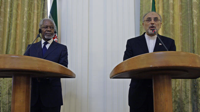 """Iranian Foreign Minister Ali Akbar Salehi, right, speaks with media during a joint press conference with International envoy Kofi Annan, left, after their meeting in Tehran, Iran, Tuesday, July 10, 2012. Annan said Tuesday that Iran must be """"part of the solution"""" to the bloody crisis in its close ally Syria, and that the Tehran has offered its support to end the conflict. (AP Photo/Vahid Salemi)"""