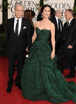 Catherine Zeta Jones showed us why she's Hollywood royalty in an emerald Monique Lhuillier at the 2011 Golden Globes