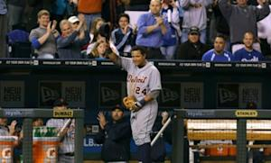 Miguel Cabrera waves to the crowd in Kansas City on Oct. 3 after finishing the season with the league's highest batting average, most home runs, and most RBIs.