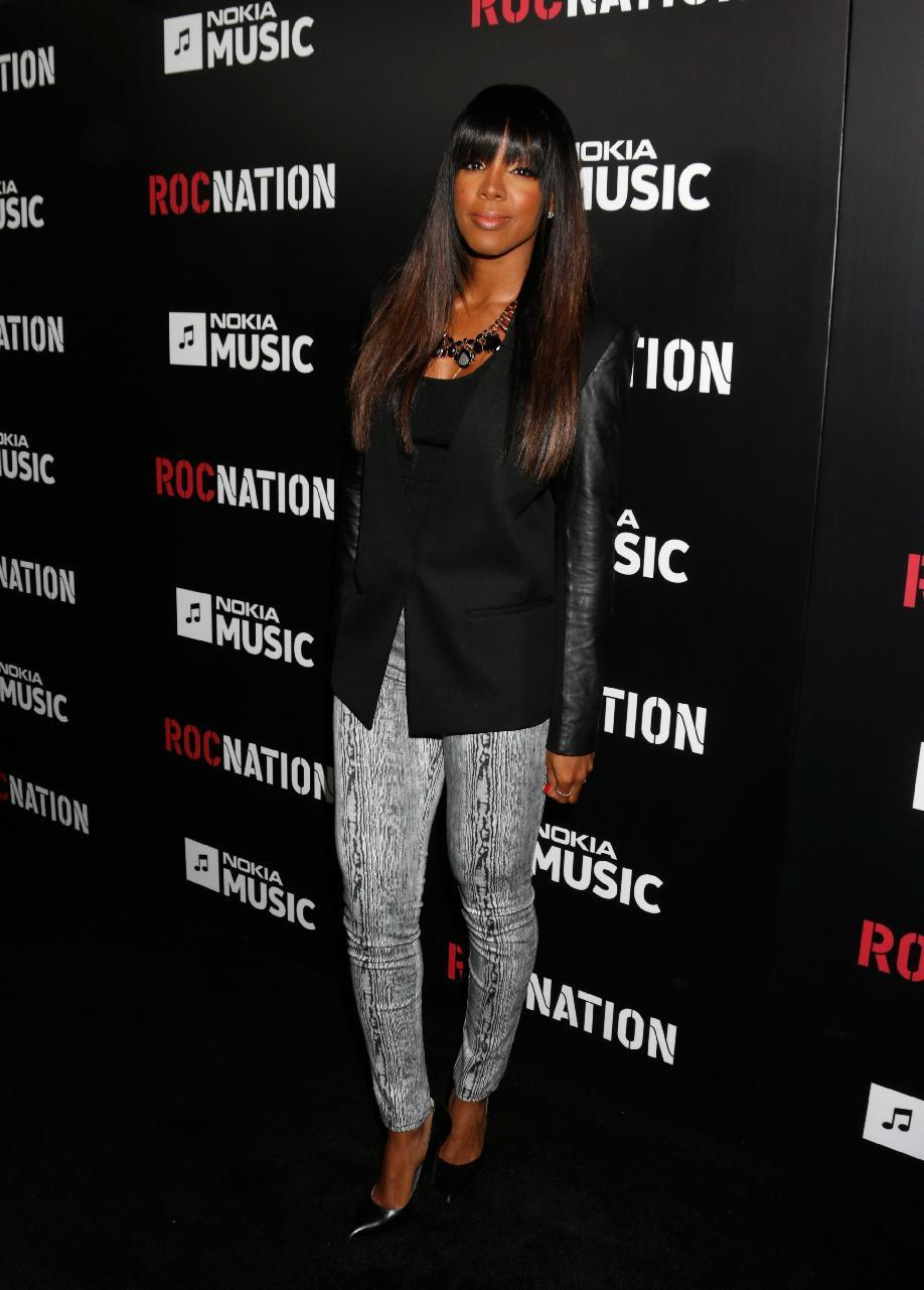 Kelly Rowland arrives at Roc Nation's Pre-Grammy Brunch at the Soho House on Saturday, Feb. 9, 2013 in Los Angeles. (Photo by Todd Williamson/Invision/AP)