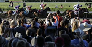 More than 100,000 packed Belmont Park to watch California Chrome. (AP)