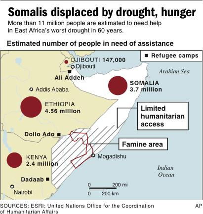 Map locates the famine area of Somalia.