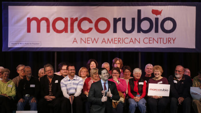 U.S. Republican presidential candidate Marco Rubio speaks during a campaign event in Sun City, South Carolinad
