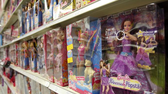 FILE -In this Monday, July 16, 2012, file photo, Barbie products are displayed at a local toy store in Hialeah, Fla. Mattel Inc. reports quarterly financial results before the market opens on Wednesday, April 17, 2013. (AP Photo/Alan Diaz)
