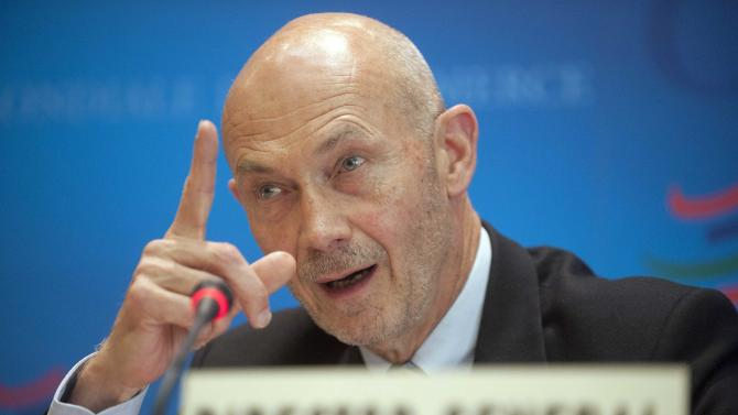 Director General of the World Trade Organization, WTO, Pascal Lamy addresses a news conference on annual trade forecast and statistics at the WTO headquarters in Geneva, Thursday, April 12, 2012. Europe's sovereign debt crisis and other economic shocks are expected to slow the growth in global exports to just 3.7 percent in 2012, the WTO said. That comes after slowing to 5 percent in 2011, and would mark a sharp deceleration from the 13.8 percent growth rate in 2010, the WTO said in its annual report. The figures represent the total volume of merchandise exported across borders, accounting for changes in prices and exchange rates. (AP Photo/Keystone, Sandro Campardo)