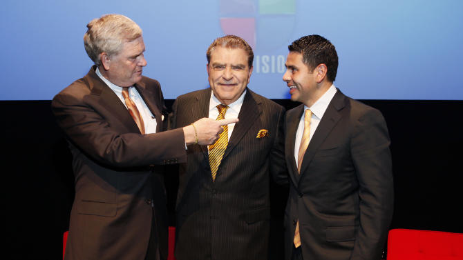 IMAGE DISTRIBUTED FOR UNIVISION - Univision President and CEO Randy Falco, left, Don Francisco, centre, and President of Univision Networks Cesar Conde attend the celebration of the fifty years of Sabado Gigante at the Museum of Moving Image in NY during Hispanic Heritage Month in Queens, NY on October 2, 2012. (Amy Sussman/AP Images for Univision)