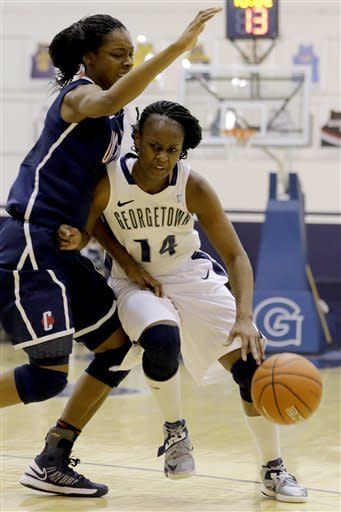 No. 3 UConn gets sloppy 75-48 win over Georgetown