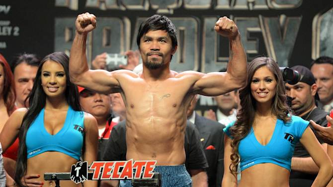 Manny Pacquiao during the weigh-in at the MGM Grand Arena in Las Vegas on April 11, 2014 on the eve of his fight against Timothy Bradley