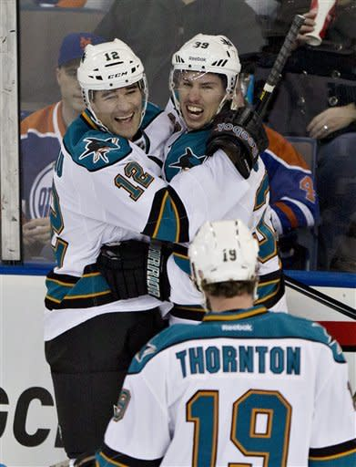 Marleau and Couture lead Sharks past Oilers 6-3