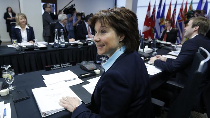B.C. Premier Clark waits for the start of a meeting of provincial and territorial premiers in Ottawa