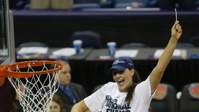 Connecticut center Stefanie Dolson (31) celebrates after defeating Louisville 93-60 in the national championship game of the women's Final Four of the NCAA college basketball tournament, Tuesday, April 9, 2013, in New Orleans. (AP Photo/Bill Haber)