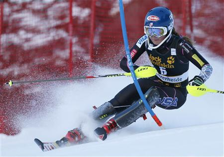Mikaela Shiffrin of the U.S. clears a gate during the women's Slalom race at the Alpine Skiing World Cup finals in Lenzerheide March 16, 2013. REUTERS/Denis Balibouse