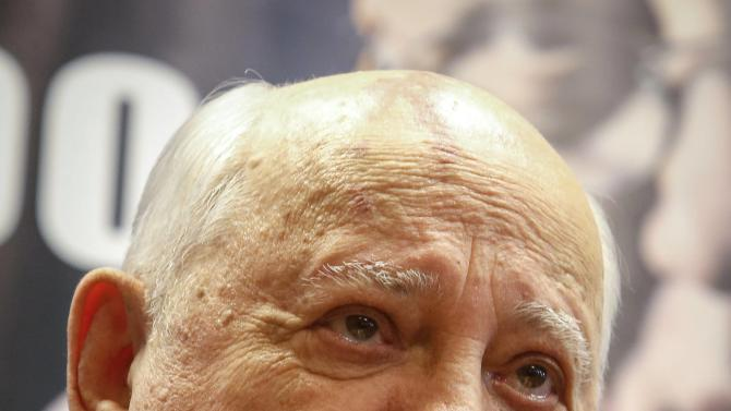 "Former Soviet president Mikhail Gorbachev looks on during a presentation of his new book ""After Kremlin"" in Moscow"