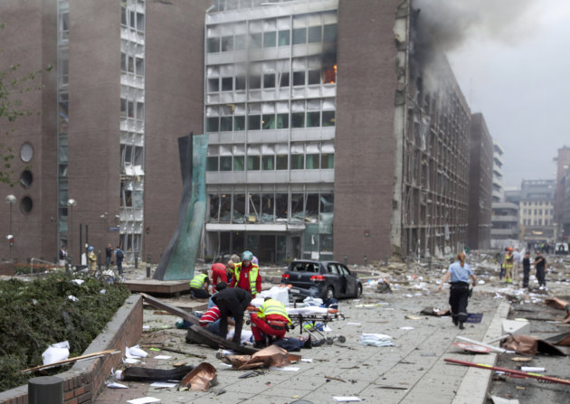 The scene after an explosion in Oslo, Norway, Friday July 22, 2011. A loud explosion shattered windows Friday at the government headquarters in Oslo which includes the prime minister's office, injurin