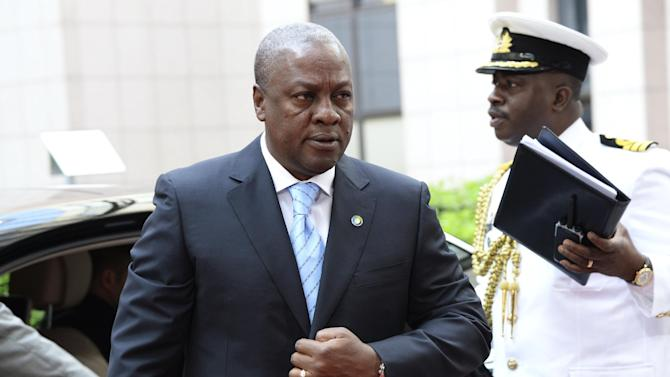 File picture shows Ghana's President John Dramani Mahama arriving for the 4th EU-Africa summit at the EU headquarters in Brussels on April 2, 2014